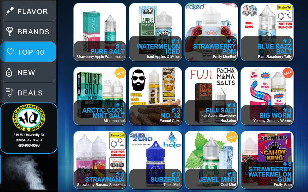 Our Best Selling E-Liquid Flavors at HQ Vape & Smoke